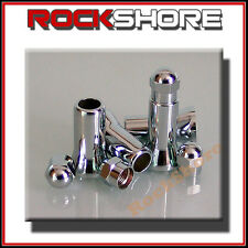 4 CHROME WHEEL TYRE VALVE DUST CAPS & STEM COVERS 27MM