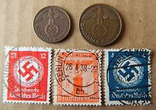 Lot of Germany 3rd Reich 1&2 Reichspfennig coins and 3 stamps with Swastika -S32