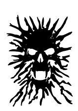 High Detail Smoke Skull Airbrush Stencil - Free UK Postage
