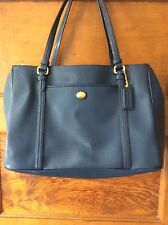 Coach Blue Leather Double Zip Tote Satchel Bag F25669