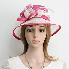 New Woman Church Derby Wedding Party Sinamay Dress Hat C45 Hot pink&Ivory
