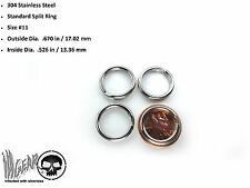 4X Stainless Steel Key Chain Split Ring .670 in / 17.02 mm OSD #11 LOT OF 4 RING