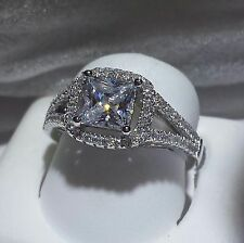 PRINCESS CUT HALO SOLITAIRE with ACCENTS ENGAGEMENT RING 2CT 925 SILVER. SIZE 7