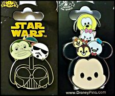 Disney Parks 2 Pin Lot TSUMS Star Wars pull up + Mickey and friends