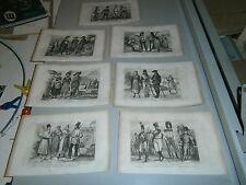 Lot de 7 gravures Costumes19° Autriche Tyrol Buccovine Marmaros  militaire civil