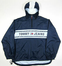 VTG 90S TOMMY HILFIGER USA FLAG LOGO WINDBREAKER JACKET XXL OG SPORT RAP POLO 92