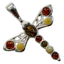 DELIGHTFUL MULTI COLOR BALTIC AMBER DRAGONFLY 925 STERLING SILVER PENDANT