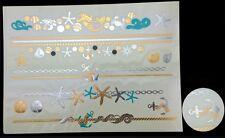 Planche de 15 Tatouages éphémères métallique waterproof. merTatoo temporaire or