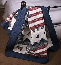 Quilt Throw Patriotic Red White Blue American Flag Wall Hanging
