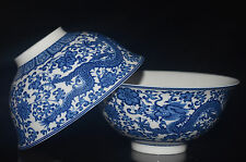 2PCS CHINESE JINGDEZHEN BLUE AND WHITE PORCELAIN HANDMADE PAINTED DRAGON BOWL