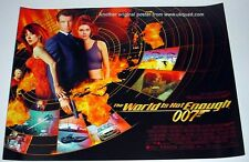 JAMES BOND POSTER WORLD IS NOT ENOUGH ORIGINAL 1999 UK CINEMA MINI QUAD MINT
