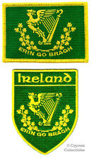 LOT of 2 IRELAND FLAG PATCH IRISH EMBROIDERED IRON-ON EIRE ERIN GO BRAGH SHIELD