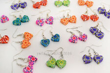 FREE wholesale lot 10Pairs Heart Polymer Clay FIMO Bead Silver Plated earrings
