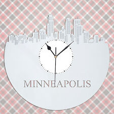Minneapolis Skyline Vinyl Wall Clock, Cityscape Clock, Unique Large Wall Clock