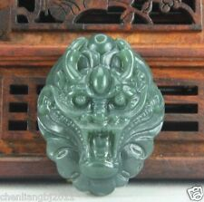 Hand carved natural green jade stone dragon head charm pendant necklace
