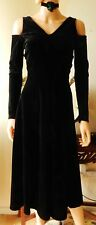 Size 8  Black Goth Dress Celtic l  Figure Flattering  Dress Black Velvet  Dress