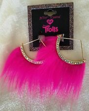 Betsey Johnson XOX Trolls Pink FauxFur Rhinestone Fan Pierced EarRings Retail$38