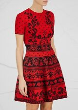 ALEXANDER MCQUEEN RED STRETCH JACQUARD-KNIT DRESS MEDIUM