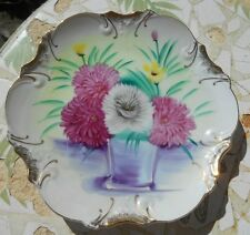 """Hand-Painted Plate Chrysanthemums Vintage Scalloped Edges 8"""" Hanger Gold Trim"""