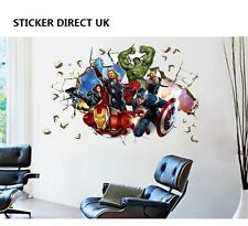 3D Crack Wall Avengers Marvel Hulk Iron Man Thor Captain Vinyl Sticker For Sale