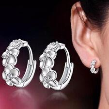 Fashion Women's 925 Silver Plated Crystal Flower Ear Stud Earring Jewelry Hoop