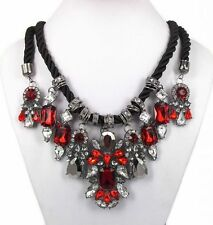 COLLIER PLASTRON CORDON CRISTAL ROUGE NECKLACE J PEARL CRYSTAL RED ASOS