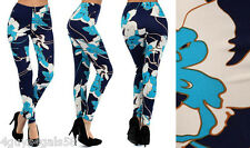Bright FLORAL CHIC womens Leggings ONE SIZE Fits 6-12 CALLA LILIES Navy Aqua