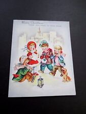 #K304- Vintage Unused Glittered Xmas Greeting Card Children Carolers Singing