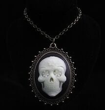 "24"" Glow in the Dark Resin Mexican Sugar skull Cameo Pendant Necklace"