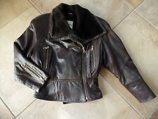 Andrew Marc Brown 100% Leather Faux Fur jacket coat Peplum hem Asymm zipper S