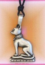 Egyptian Goddess BAST CAT Pendant Necklace Bastet pagan Jewellery pewter 45mm