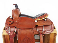 "16"" CLASSIC WESTERN LEATHER COWBOY HORSE PLEASURE TRAIL RANCH WORK SADDLE TACK"