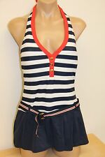 New Tommy Hilfiger Swimsuit 1 one piece attached Dress Size 12 Navy Red