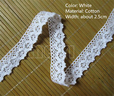 5 yds Vintage White Cotton Crochet Lace Trim Wedding Bridal Ribbon Sewing Crafts