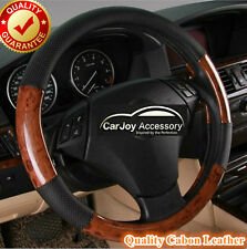 Strap On Auto Parts Classic Leather Car Steering Wheel Cover Mahogany Wood Grain