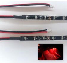 RED LED FOOTWELL/INTERIOR STRIP LIGHTING 2x20CM STRIPS