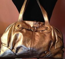 FRANCESCO BIASIA Povolaro ITALY large shoulder bag genuine leather gold