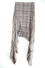 LADIES SOFT BROWN/PLAID WRINKLED GEOMETRICAL PATTERN FRILL EDGE SCARF (MS40)