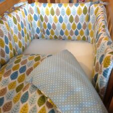 Cushi cots boys swing crib bumper and duvet set Spring leaves new