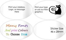 Gloss White Address Labels Personalised Ovals envelope Stickers customised x 50