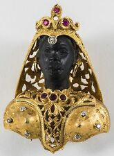 18K GOLD, DIAMOND, RUBY & HARDSTONE BLACKAMOOR ESTATE BROOCH
