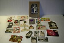 Vintage lot of postcards valentines photos Christmas Easter