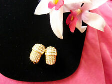 1980's VINTAGE AUTH.CHRISTIAN DIOR SIGN RHINESTONES CRYSTALS GOLD CLIP EARRINGS