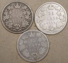 Canada 1872-H,74-H,+81-H Twenty-Five Cents Lower Grades as Pictured