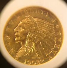 1908 D $5 GOLD INDIAN HEAD COIN  MS/63