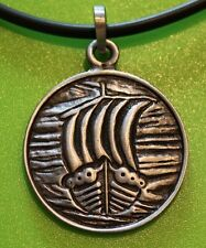 Viking Longship Pewter Pendant  Necklace - Thor - God - Norse