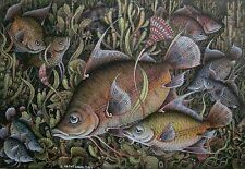 "EXTREMELY FINE VINTAGE WATERCOLOUR AND INK FROM BALI INDONESIA ""FISH"" BEAUTIFUL"