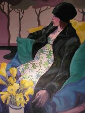 "NEW BEAUTIFUL YVONNE AULD ORIGINAL ""Waiting"" Lady woman girl daffodils PAINTING"