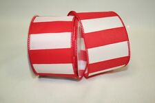 Craft Ribbon Bold red & white striped wired ribbon rram 92826w-695-40f- NEW
