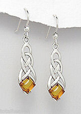 Solid Sterling Silver 40mm Celtic Style Amber Hook Dangle Earrings 3.3g